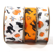 White and orange mini black cat Halloween theme ribbons