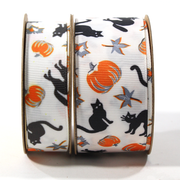 White mini black cat Halloween theme ribbon