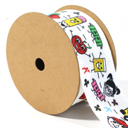 "1 1/2"" inch White grosgrain back to school theme ribbon"