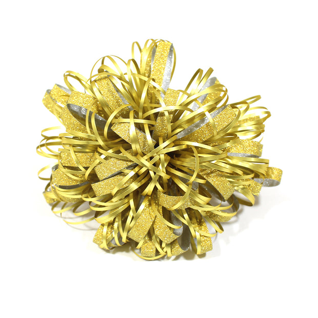 LaRibbons Metallic Fountain Gift Bow Pack Silver/Gold - 12 Pieces