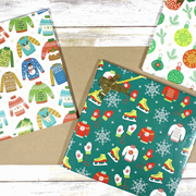 White and green ugly Christmas sweater wrapped gifts