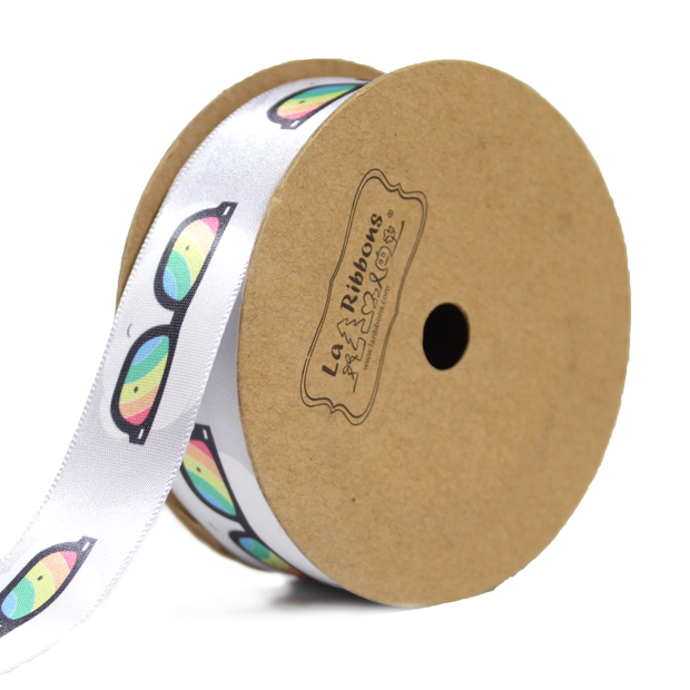 Gray satin ribbon printed with rainbow sunglasses