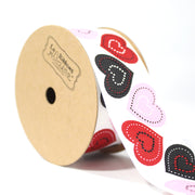 "1 1/2"" inch white grosgrain ribbon with pink hearts"