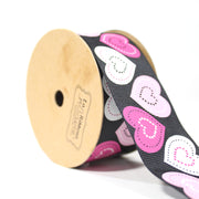 "1 1/2"" inch black grosgrain ribbon with pink hearts"