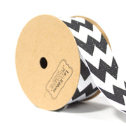 "1 1/2"" inch black and white chevron style glitter ribbon"