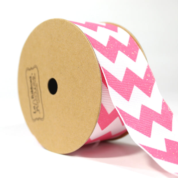 "1 1/2"" inch pink and white chevron style glitter ribbon"