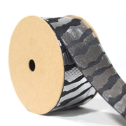 Metallic Zebra Grosgrain Ribbon Black/Silver