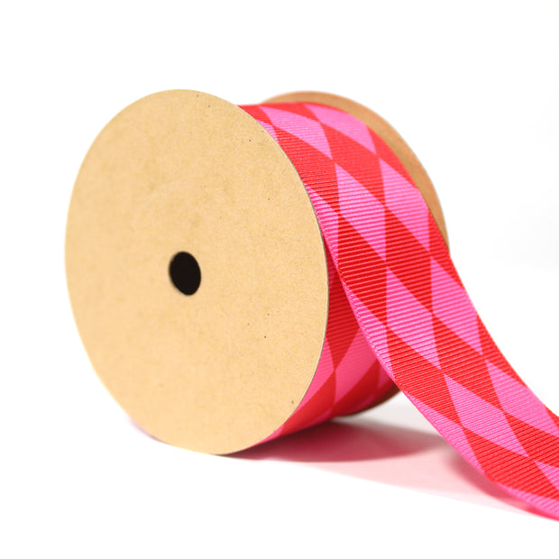Pink and red jester diamond shape ribbon