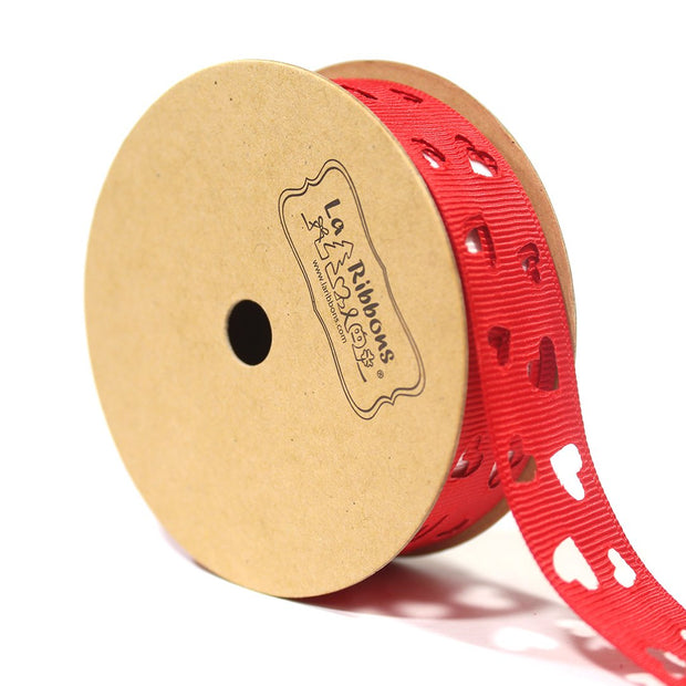 7/8 inch red cut out heart polka dot ribbon