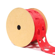 1 1/2 inch red cut out heart polka dot ribbon