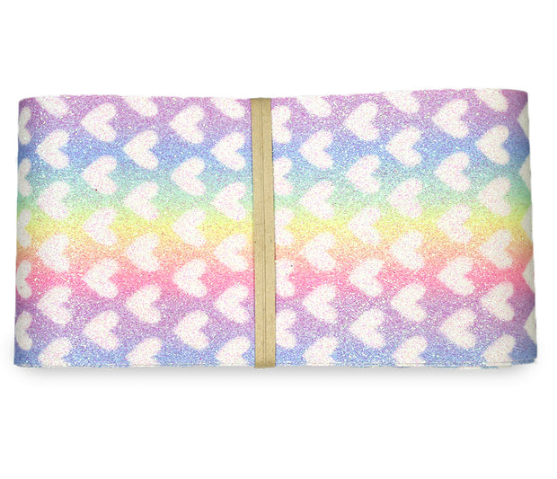 "2 1/2"" inch rainbow heart canvas ribbon"