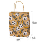 "Rugby/Baseball/Football Design Medium Size Gift Bags with Tissue Paper - 12 Pack - 8"" X 4"" X 10"""