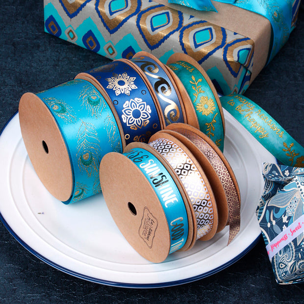 38mm Turquoise/Gold Peacock Glitter Printed Satin Ribbon