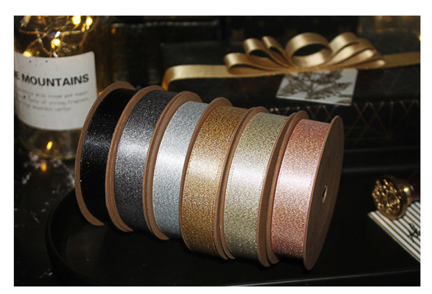 LaRibbons 16mm Metallic Sparkle Satin Ribbon 10 Yard Spool