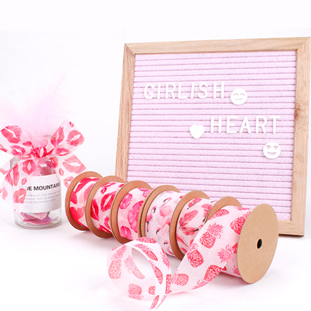 38mm Pink/Multi Feather Printed Mesh Ribbon