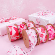 "38mm Pink/Red ""Poppy"" Printed Mesh Ribbon"