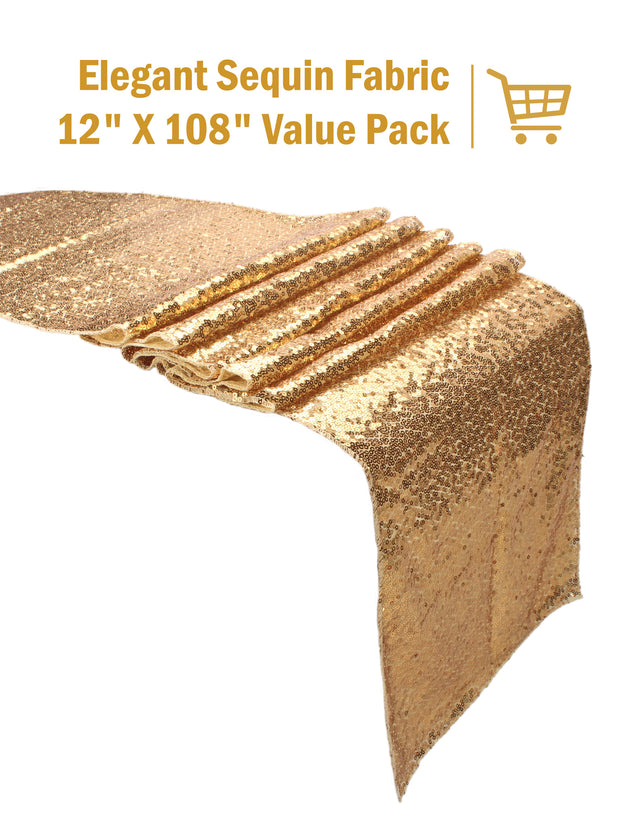 "12"" x 108"" Premium Quality Sequin Table Runners Glitter Party Supplies Fabric Decorations For Wedding Birthday Baby Shower - Light Gold"