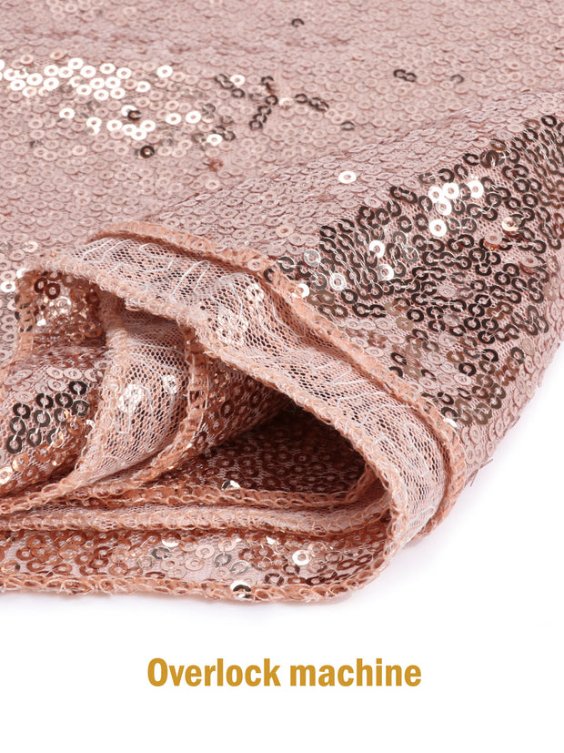 "12"" x 108"" Premium Quality Sequin Table Runners Glitter Party Supplies Fabric Decorations For Wedding Birthday Baby Shower - Rose Gold"