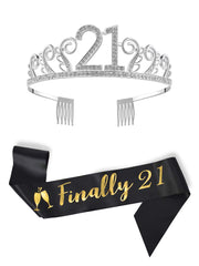 "21st Birthday Crystal Tiara and Sash, ""Finally 21"" Black Satin Sash, Birthday Crown for Birthday Party Supplies and Decorations(Tiara and Sash)"