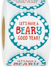 "WRAPAHOLIC Back to School Gift Stickers- ""Let's Have a Beary Good Year"" Design  2x2 Inch 500 Total Labels"