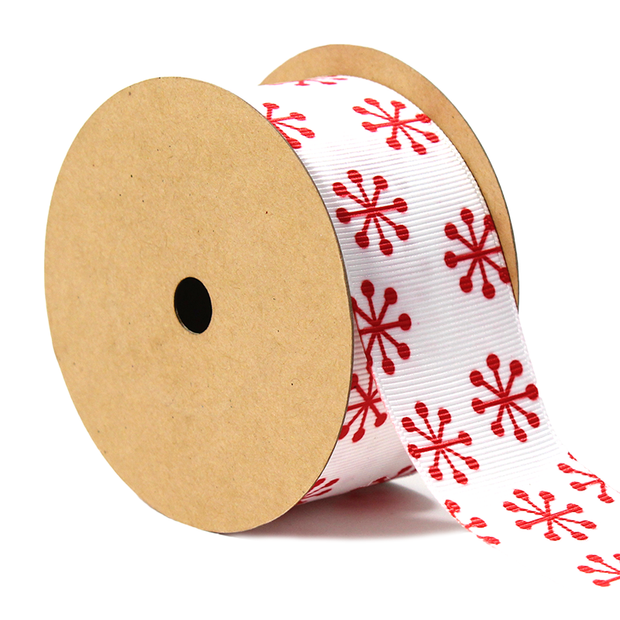1 1/2 inch white and red jacks ribbon