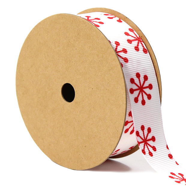 7/8 inch white and red jacks ribbon
