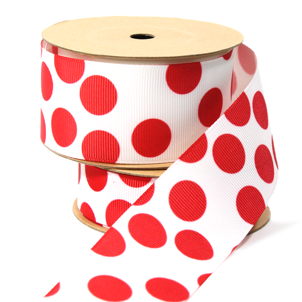 Dot Grosgrain Ribbon White/Red