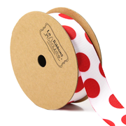 7/8 inch red and white polka dot ribbon