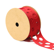 1 1/2 inch red cut out polka dot ribbon