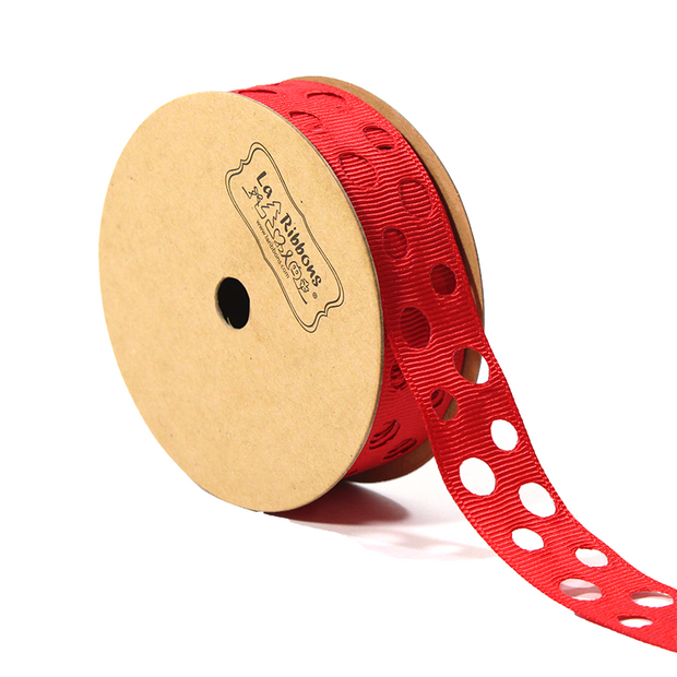 7/8 inch red cut out polka dot ribbon