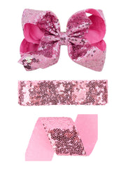 1 5/8'' Mini Sequin Ribbon Bundle-2M/Color (16M Total) - Black/White/Silver/Pink/Blue/Red/Hot Pink
