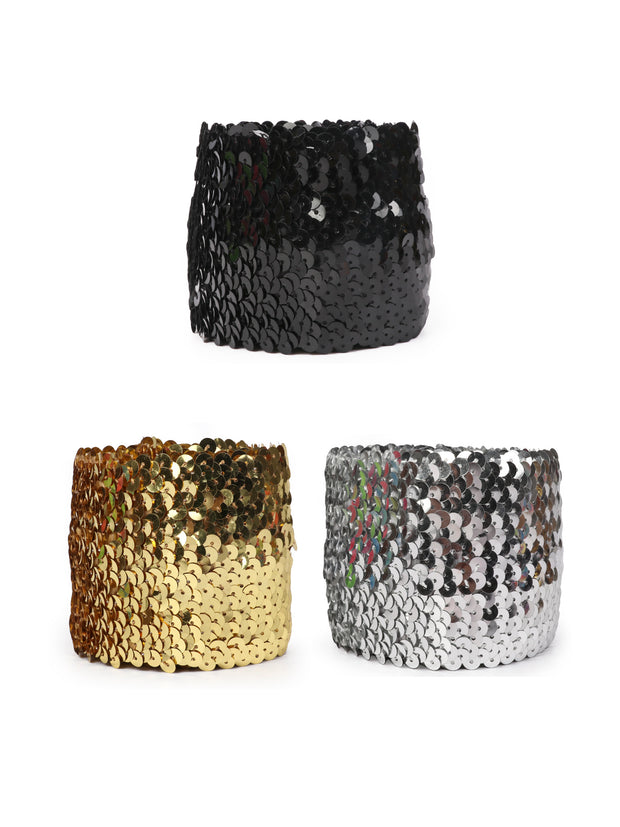 3'' Gleaming Stretch Sequin Bundle -  1M (3 M Total) - Black/Gold/Silver