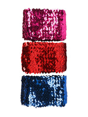 3'' Gleaming Ribbon Bundle Sequin Applique Knit Fabric Shiny for DIY Sewing 1M(3 M Total) - Hot Pink,Red,Royal Blue