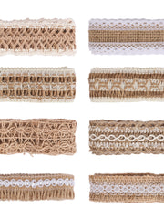 Jute Cotton Lace Ribbon Sewing Tape Hessian Roll Burlap Trims DIY Crafts Bundle - 2Yards/Color (16Yards Total)