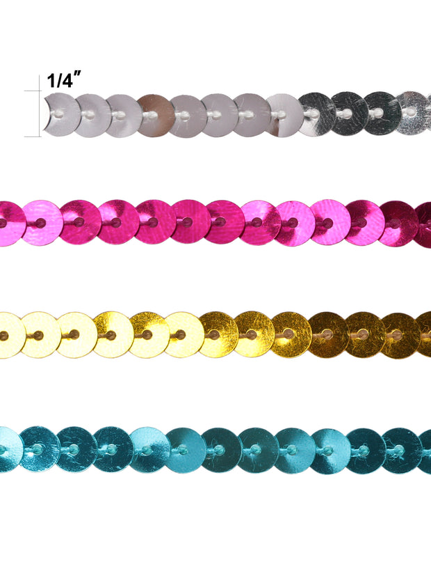 "1/4"" Spangle Flat Sequins Trim Bundle - 5Yards/Color (20Yards Total)"