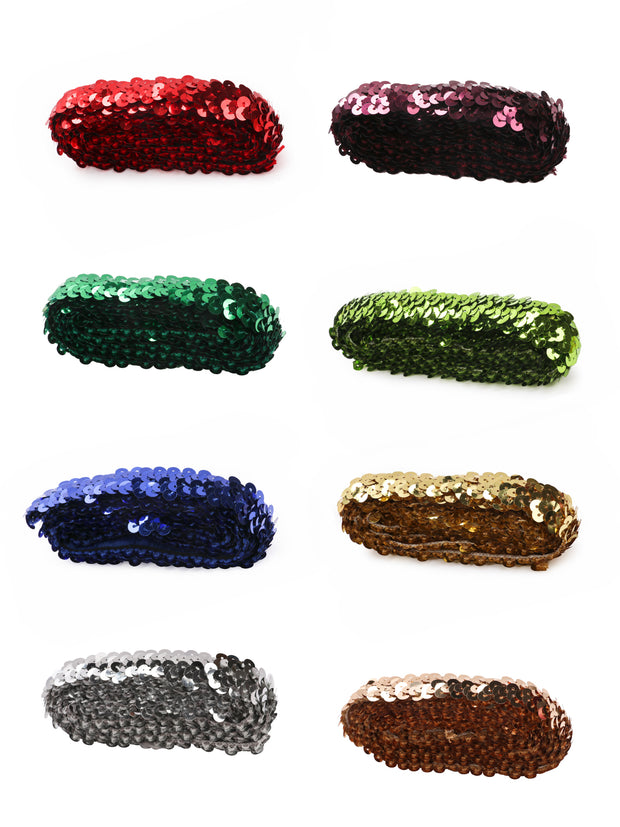 "7/8"" Elastic Sequin Stretch Bundle -  2Yard/Color - Total 16 Yards"