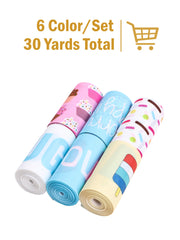 "3"" Fun Prints Grosgrain Ribbon Bundle - 6 Designs/5 Yards Per Design - 30 Yards Total"