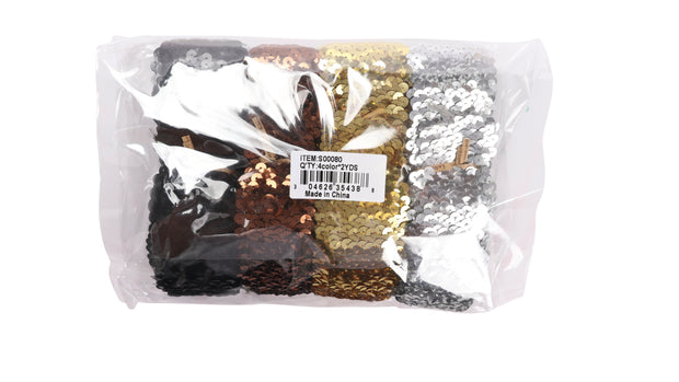 "1 7/8"" Stretch Sequin Elastic Bundle - 2Yards/Color Total 8 Yards - Silver/Gold/Black/Coffee"