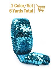 "1 7/8""Stretch Sequin Elastic Trim - Turquoise - 6 Yards"