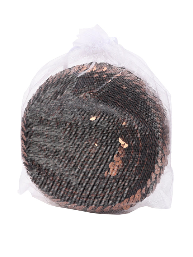 "1 7/8"" Stretch Sequin Elastic Trim - Coffee - 6 Yards"