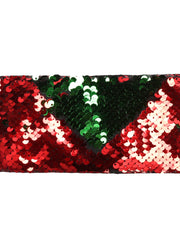 "3"" Reversible Sequin Ribbon Trim - 2 Yards - Red/Green"