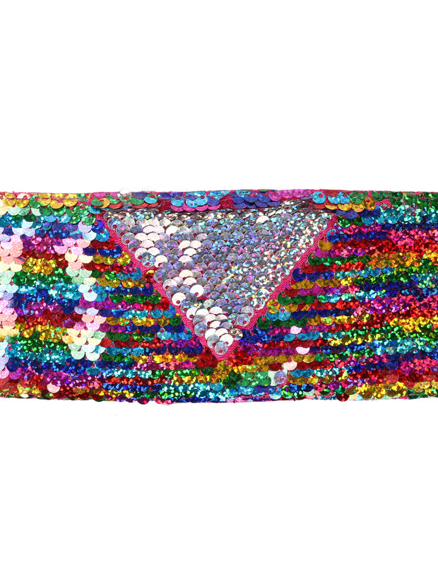 "3"" Reversible Sequin Ribbon Trim - 2 Yards - Rainbow/Silver"