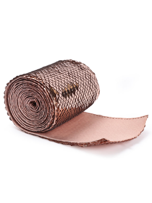 "3"" Reversible Sequin Ribbon Trim - 2 Yards - Rose Gold/Silver"