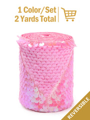 "3"" Reversible Sequin Ribbon Trim - 2 Yards - Princess Pink/Matte Pink"