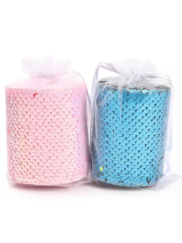 "3"" Reversible Sequin Ribbon Trim Bundle - 2 Yards/Color - Total 4 Yards - Neon Blue/Matte Green & Neon White/Matte Orange"