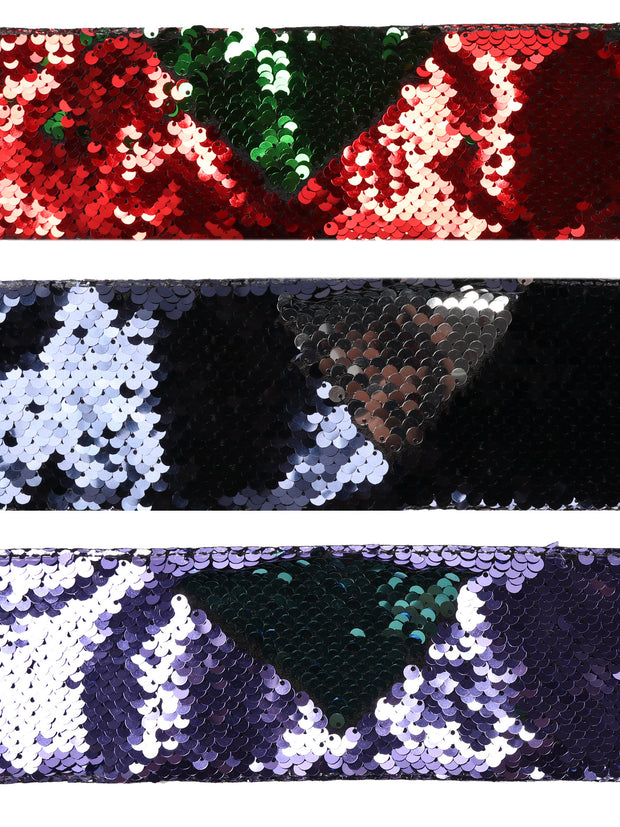 "3"" Reversible Sequin Ribbon Trim Bundle - 3 Yards/Color - Total 6 Yards - Red/Green,  Navy/Purple , Lilac/Teal"