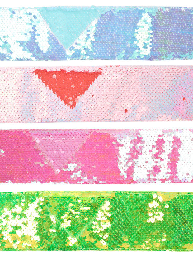 "3"" Reversible Sequin Ribbon Trim Bundle - 2 Yards/Color - 8 Yards Total - Green/Orange/Blue/Pink"
