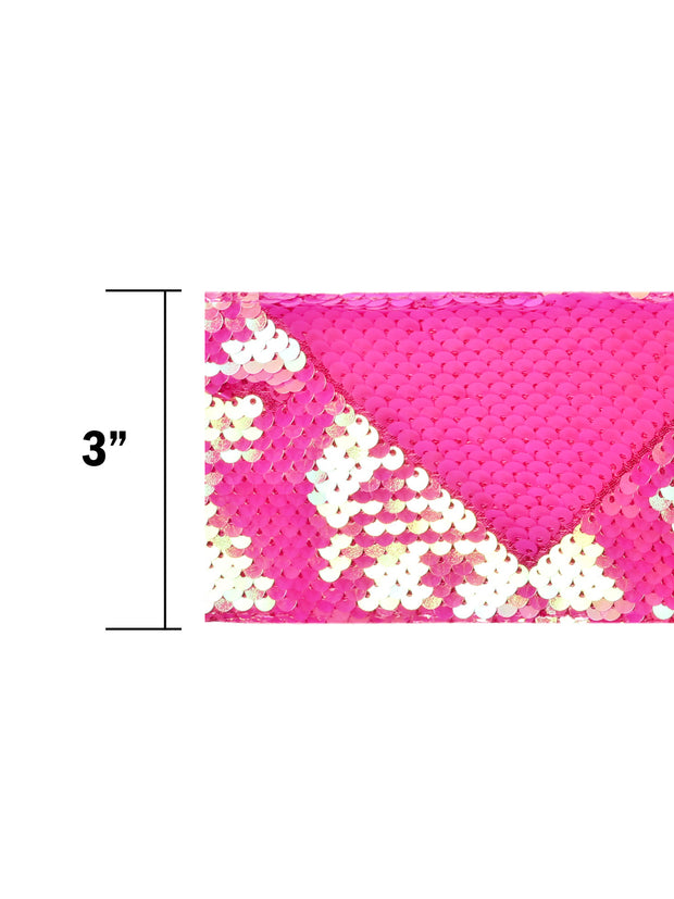 "3"" Reversible Sequin Ribbon Trim - 2 Yards - Iridescent Persian Pink/Matte Persian Pink"