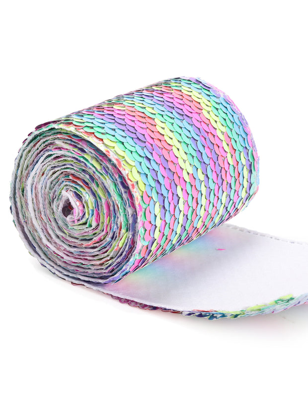 "3"" Reversible Sequin Ribbon Trim - 2 Yards - Bright Unicorn Rainbow/Laser Silver"