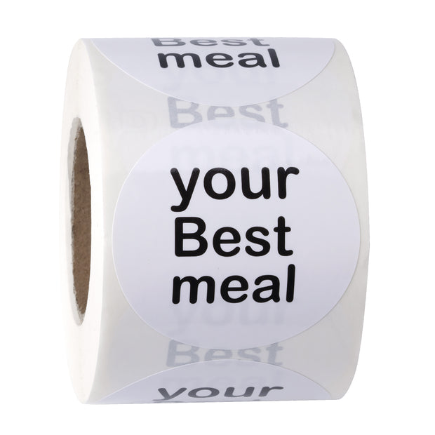 "WRAPAHOLIC ""Your Best Meal"" White and Black 2x2 Inch 500 Total Labels"
